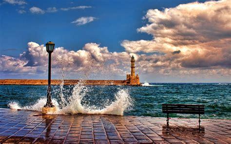 nature architecture landscape sea waves lighthouse