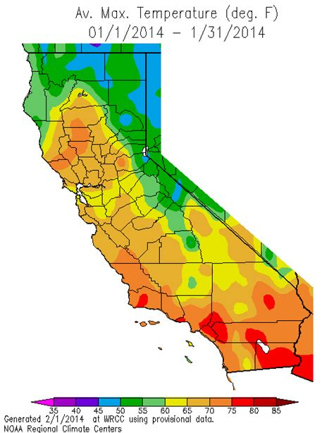 california temperature map january calclim california climate data archive