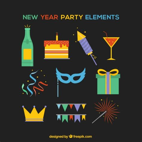 new year elements elements for new year on black background vector free