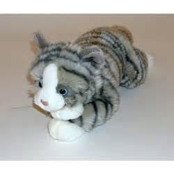 Speelgoed pluche poes grijs zwart wit 38 cm goedkoop speelgoed bij