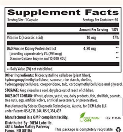 supplement of dao umbrellux dao supplement facts the nutrition supplement