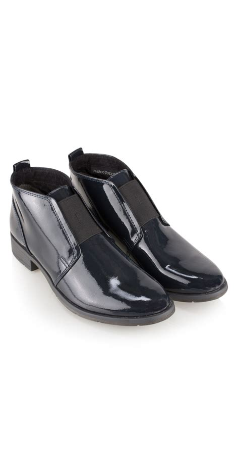 marco tozzi patent shoe boot in navy