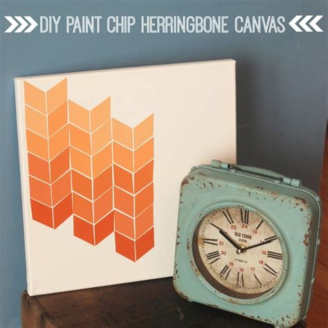 how to get a paint chip off the wall diy paint chip herringbone canvas guest post endlessly