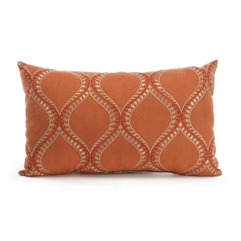 Pillow With Embroider S raj orange embroidered lumbar pillow gump s