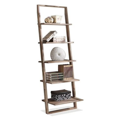 riverside furniture lean living leaning bookcase in smoky