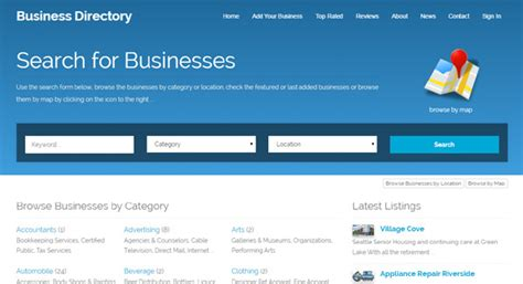 business directory website template php business directory screenshots