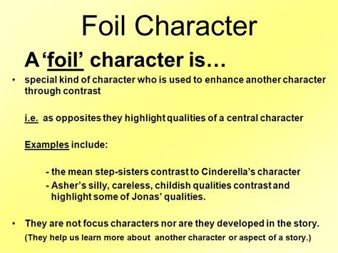 exle of foil character types ppt