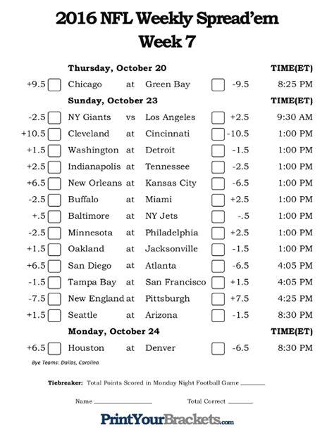 printable nfl schedule for week 7 nfl week 7 pick em against the spread sheets printable