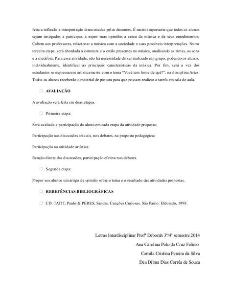 PLANO DE AULA Fome Come LP/Artes