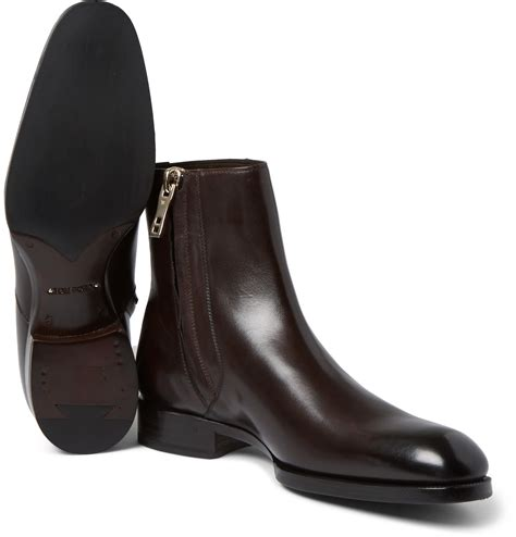 tom ford boots for tom ford burnished leather chelsea boots in brown for