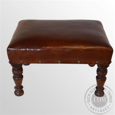 Small Leather Stool by Antique Footstool Gout Stool Small Low Leather Foot Rest