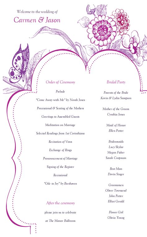 one page wedding program template sophisticated wedding program