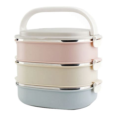 metal food container 3 tier stainless steel insulated bento lunch box thermal metal food containers ebay