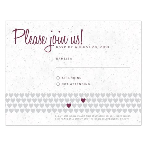 Wedding Card Reply by Two Hearts Plantable Reply Card Plantable Seed Wedding