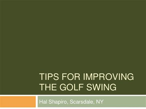 tips for swinging tips for improving the golf swing