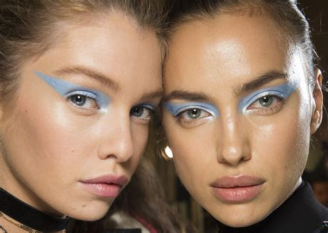 Makeup Versace runway icy blue and glitter at atelier