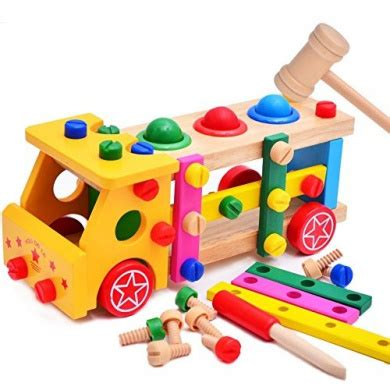 Wooden Skrew Truck functional wooden nuts and bolts combination toys building