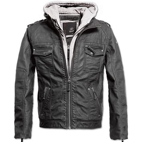 Brandit Black Rock Mens Biker Jacket Pu Leather Hooded