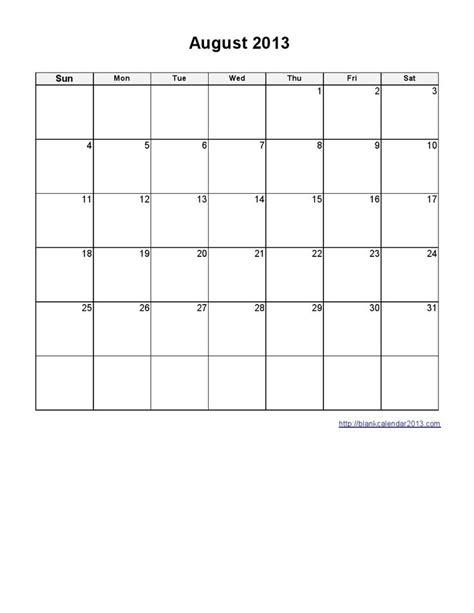 blank calendar template august 2013 printable calendars