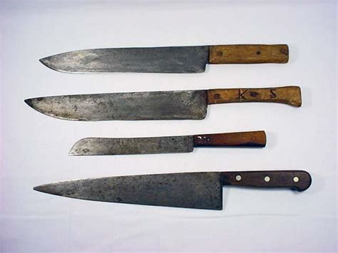 antique kitchen knives lot of 4 vintage large kitchen knives incl henc