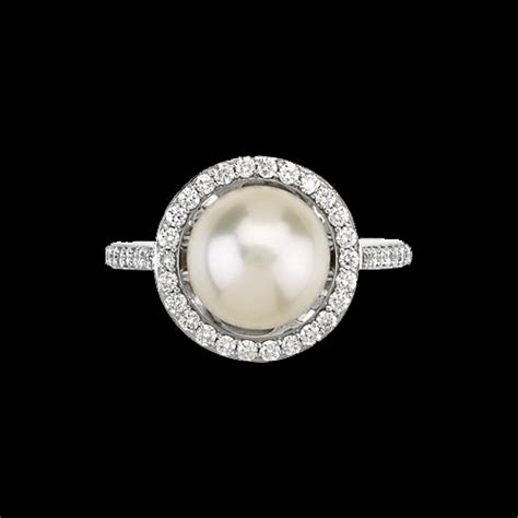 Halo Ring 1253 pearl halo ring a dazzling present for someone special