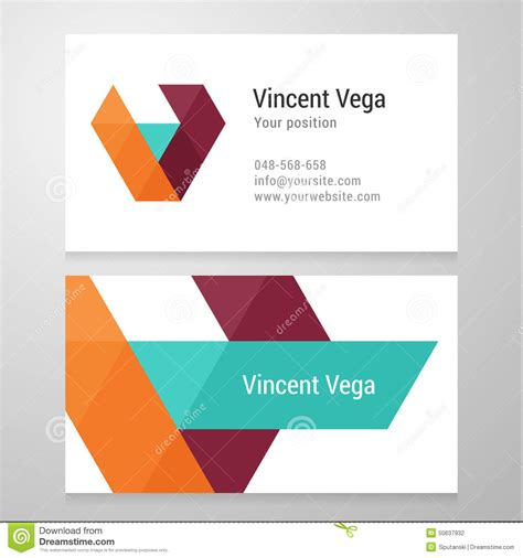 business card template us letter svg modern letter v business card template stock vector