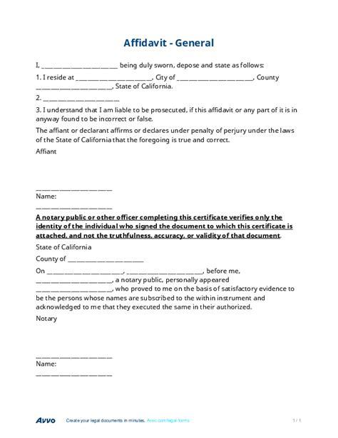 affidavit free general affidavit form template