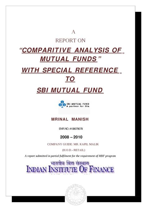 Sbi Internship For Mba by A Report On Comparitive Analysis Of Funds With