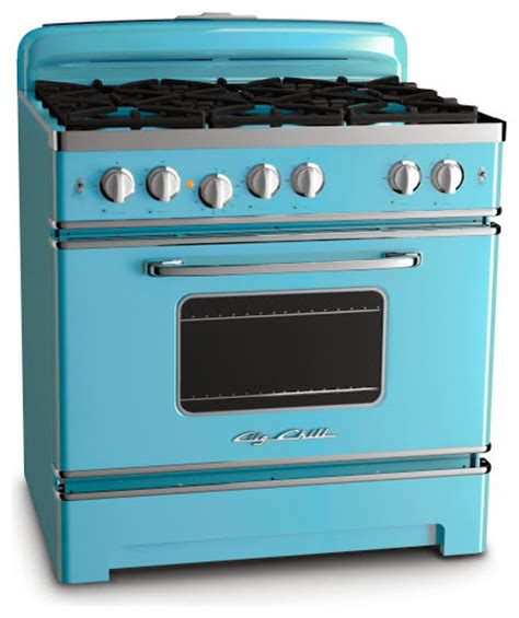 retro and modern stoves ranges ovens big chill big chill 36 inch retro stove beach blue modern gas
