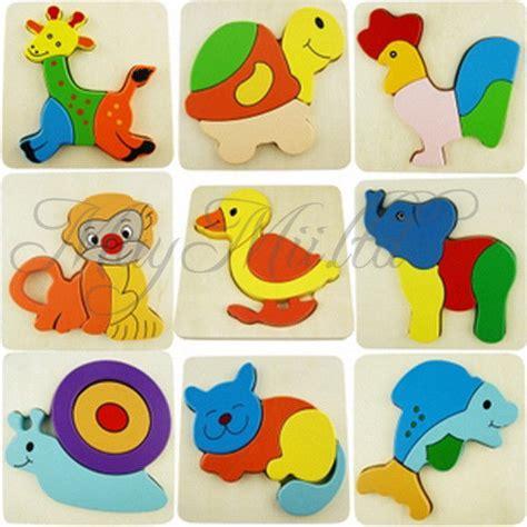 Puzzle Kayu Baby Animals wooden blocks kid child animal design puzzle