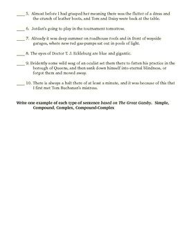 Grammar And Mechanics Worksheets by The Great Gatsby Grammar And Mechanics Worksheet By Aven