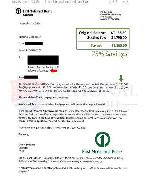 Fnb Credit Card Settlement Letter Debt Settlement Letters