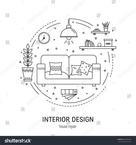 design concept elements interior design round concept made modern stock vector