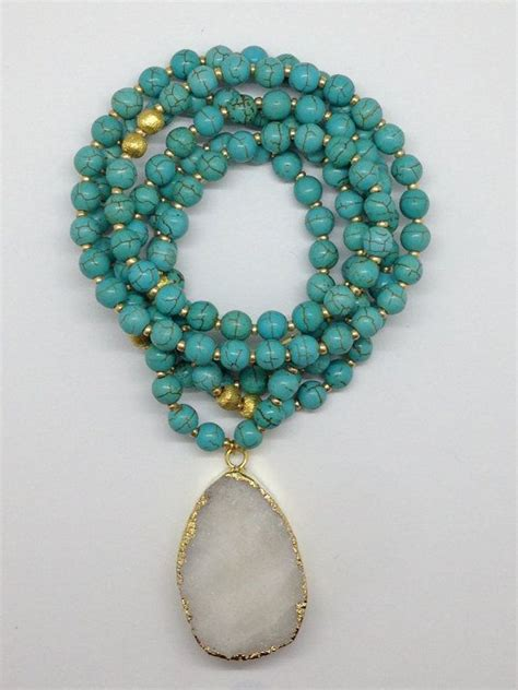 how to make druzy jewelry turquoise beaded druzy pendant necklace turquoise