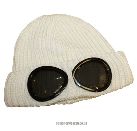 cp hat cp company white wool beanie hat with goggles hats