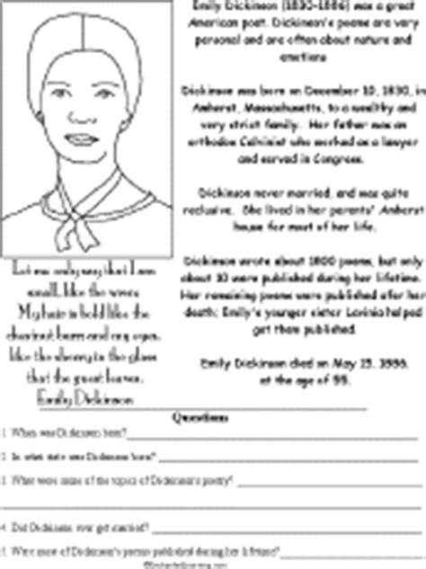biography of emily dickinson pdf emily dickinson biography questions worksheet