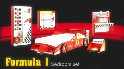 formula 1 racecar theme bedroom furniture set for
