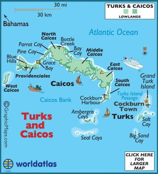 turks and caicos map / geography of turks and caicos / map