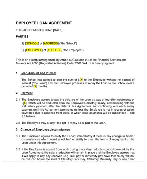 employee loan agreement template 25 loan agreement templates free premium templates