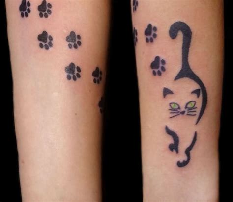 small cat paw tattoos cat and paw print tattoos on arm jpg 843 215 734