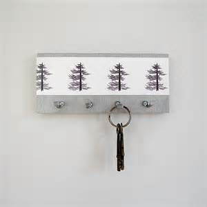 pine key holder wall key hooks art print pine trees by