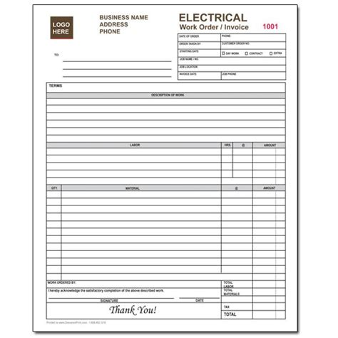 electrical company receipts template product details designsnprint