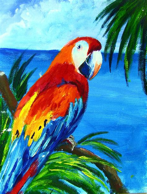 acrylic painting cook macaw one hour acrylic painting lesson cook
