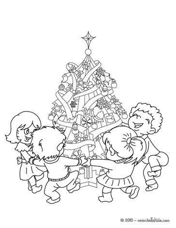 weihnachtsbaum mit photos zum anmalen weihnachtsbaum kindern umringt zum ausmalen zum ausmalen de hellokids