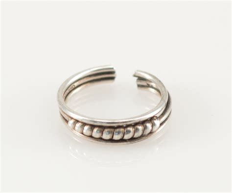 solid silver adjustable rope detail band sterling ring