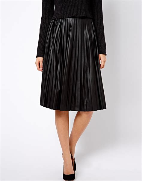 asos warehouse leather look pleated midi skirt in black lyst