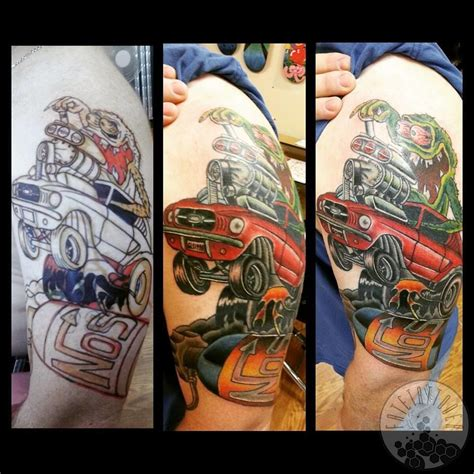rat fink tattoo fatetattooer freehand ed roth inspired mustang