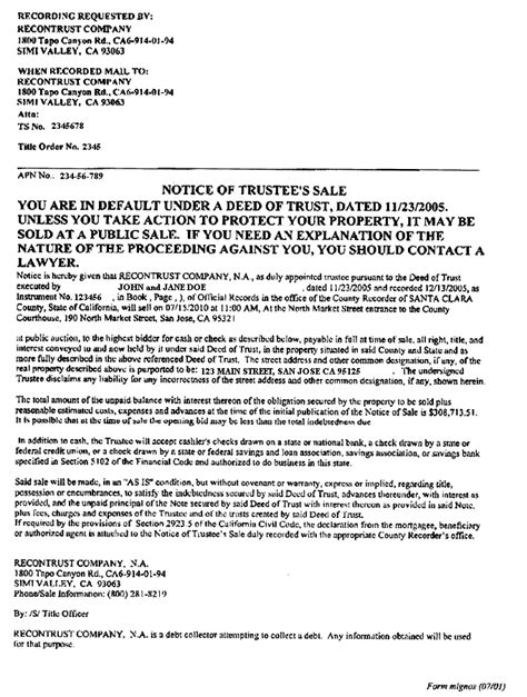 Letter Of Intent To Foreclose Mortgage exles of foreclosure notices gold and hammes