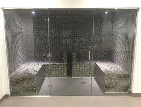 glass steam room leisure center wellness suite brookforge swimming pool build