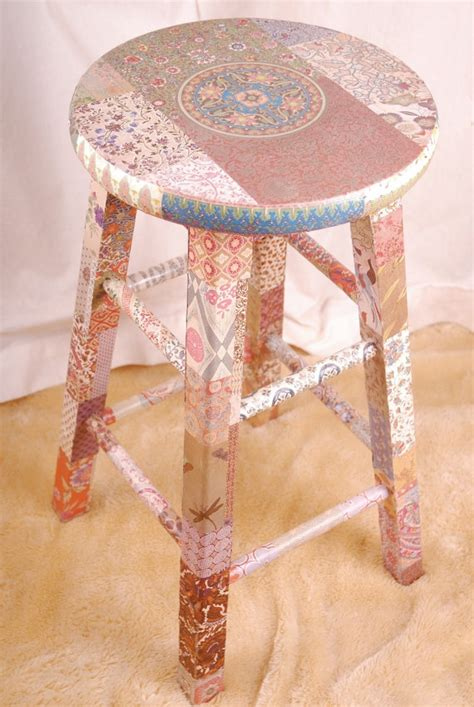 Decoupage Stool - unique wooden stool decoupage quot reika quot awesome trays